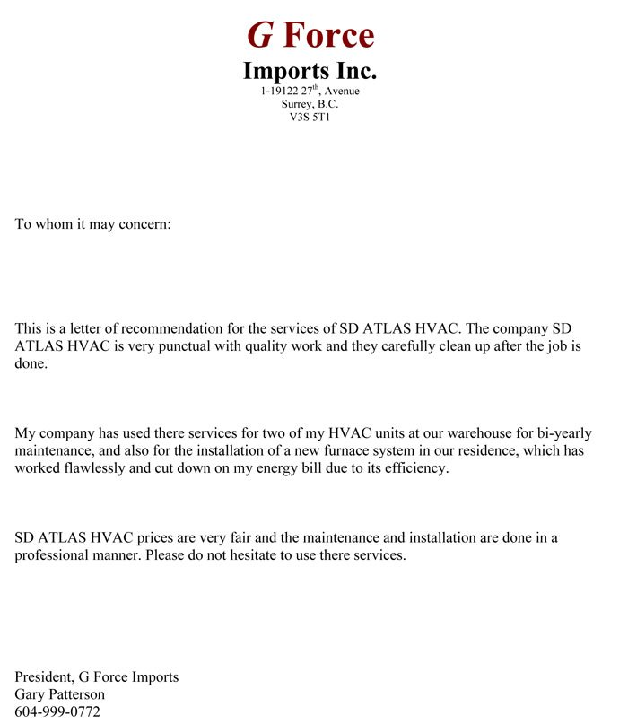 Review testimonial for SD ATLAS HVAC