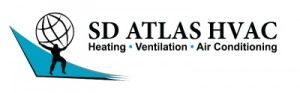 Logo with Atlas and name of company SD ATLAS as well Heating Ventilation Air Conditioning